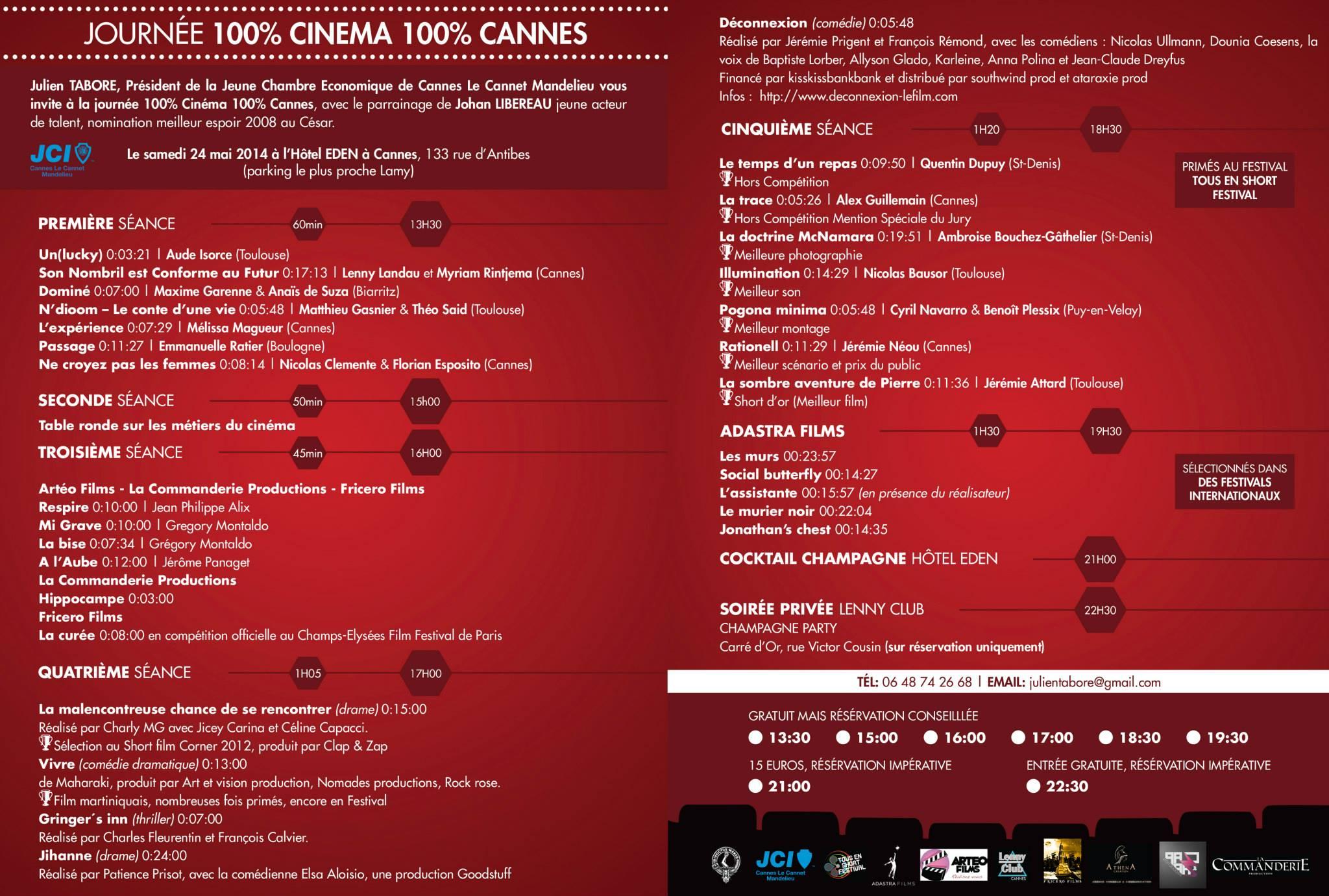Programme Festival Cannes